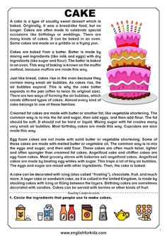 Reading comprehension passage about baking cakes. Food and cooking topic. Reading Comprehension For Kids, Ielts Reading, Reading Tutoring, Phonics Reading, English Worksheets For Kids, English Lessons For Kids, English Reading, Learn A New Language, No Bake Cake