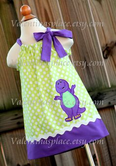 Super Adorable Barney inspired pillowcase dress by Valentinasplace