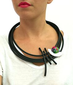 Rubber necklace - Statement necklace - Contemporary jewelry - Strand necklace - Asymmetryc jewelry. FREE SHIPPING WORLDWIDE