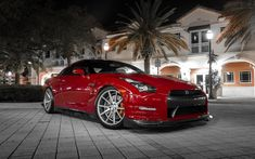 Download Wallpapers Nissan GTR, R35, Red Sports Coupe, Tuning GTR, Japanese  Cars