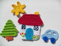 Elements of The Perfect - ev-orgu-aplikeler - Photo Design Crochet Applique Patterns Free, Filet Crochet Charts, Baby Knitting Patterns, Crochet Motif, Crochet Flowers, Crochet Car, Crochet Gifts, Baby Blanket Crochet, Crochet For Kids