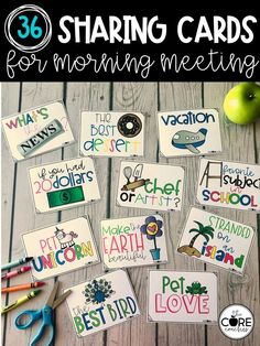 These ready-to-go sharing cards provide simple discussion topics for your class to do during morning meeting. Choose from 36 cards to give students an opportunity to talk about their lives and things that interest them.  These make planning morning meeting a breeze and ensure you never have to plan an sharing topic on the fly.  If you don't do morning meeting in your classroom, don't worry, these cards provide a quick and simple resource to help build classroom climate by allowing students to...