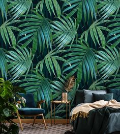Dark green leaves, peel and stick wallpaper, palm leaf wall art, self adhesive, temporary wall mural Palm Tree Wallpaper Walls, Dark Green Wallpaper, Tropical Wallpaper, Peel And Stick Wallpaper, Of Wallpaper, Leaves Wallpaper, Wallpaper Jungle, Mural Floral, Living Comedor
