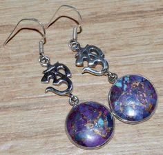 Purple Copper Turquoise 925 Sterling Silver Earrings Jewelry JJ4345 - JJDesignerJewelry