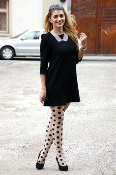 Polka dot tights, black sweater drress- look for julianna's pics