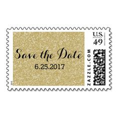 Gold Glitter Save the Date Postage