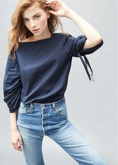 Tibi Poplin Sculpted Sleeve Top