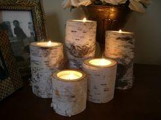 Birch bark log Candle holders  tea lights set of 5 by dchampin