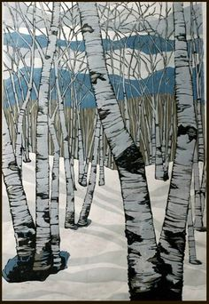 ✨ Lisa VanMeter - Northern Shadows, Colour Reduction Woodblock Print ::: Farb-Holzschnitt