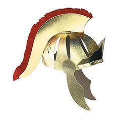 This  Roman Helmet  in gold and red has the look of a real Roman gladiator. These battle helmets are made of paperboard stock and tissue and are a full head size to fit most.
