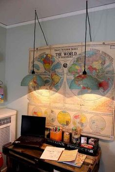 Let the world illuminate you and turn a globe into some headlamps. | 28 Inspiring Decor Ideas To Satisfy Your Wanderlust
