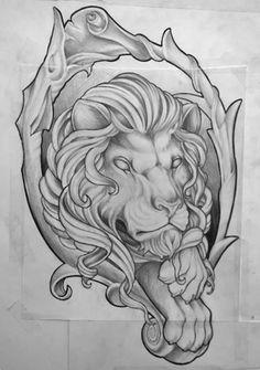 Disegno per tattoo realizzata a mano libera da Federico Nicolaci. https://www.facebook.com/pages/Artskin-Nicolaci-Tattoo-and-Art/160900493967836?ref=hl Leone