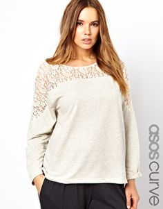 Enlarge ASOS CURVE Sweatshirt With Lace