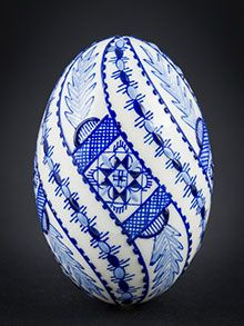 Hand-painted Easter eggs – Duck eggs in wax technology blue Painted Rocks, Hand Painted, Duck Eggs, Ukrainian Easter Eggs, Egg Art, Egg Decorating, Cross Stitch Patterns, Christmas Bulbs, Arts And Crafts