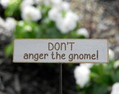 Fairy Garden sign accessories miniature DON'T anger the gnome!