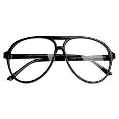 a47b426cc37 80s Retro Classic Vintage Large Bold Tear Drop Clear Lens Aviator Glasses  8062