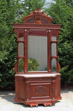 Renaissance Revival Victorian Walnut Marble Top Dresser w Hidden