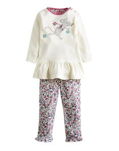 BABYPOPPY Two Piece Set Applique Jersey Top and Trousers