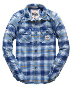 Shop Superdry Mens Milled Flannel Shirt in Ridgesaw Royal Ombre. Buy now with free delivery from the Official Superdry Store. Casual Shirts For Men, Men Casual, Mens Shirt Pattern, Blue Flannel Shirt, New Shirt Design, Picnic Outfits, Engineer Shirt, Check Shirt Man, Mens Clothing Styles