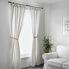 IKEA - LENDA, Curtains with tie-backs, 1 pair, , The curtains lower the general light level and provide privacy by preventing people outside from seeing directly into the room.The tab heading allows you to hang the curtains directly on a curtain rod. Curtains Without Sewing, No Sew Curtains, Short Curtains, Curtains Living, Rod Pocket Curtains, Blackout Curtains, Panel Curtains, Tie Back Curtains, White Ikea Curtains