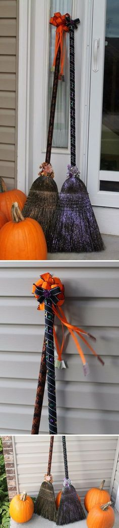 DIY Dollar Store Witch Brooms w/ Spray Paint. ~ I love it!  I'm one of those people who don't think Halloween should be once a year! I'm definitely going to be doing this & will find a place to put it!! ~ Darklingfae #halloweenstuff #halloweenpartysupplies