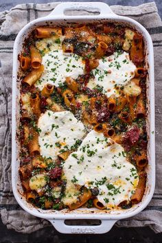 One-Pan Four Cheese Sun-Dried Tomato and Spinach Drunken Pasta Bake   HBH