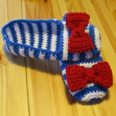 Sailor Crochet Slippers -blue white and red- 7/8