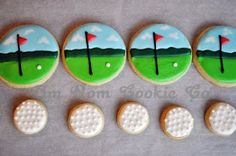 Golfing cookies~                       By Alibeesbakeshop, white golf ball, green fairway