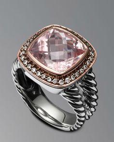 Sterling silver and 18-karat rose gold Faceted morganite, 11 x 11mm Pav diamonds, 0.23 total carat weight Split-shank