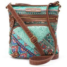 Unionbay Lace Floral Crossbody Bag, Women's, Turquoise/Blue... ($23) ❤ liked on Polyvore featuring bags, handbags, shoulder bags, brown crossbody, purse crossbody, crossbody shoulder bags, floral print handbags and blue purse