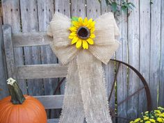 Burlap and Sunflower Pew Bow, Country Wedding Decor, Barn Wedding, Sunflower Wedding, Rustic Wedding