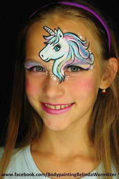 Clown Schminke Kinder-kinder einhorn make up stirn augen fabelwesen - Top Of The Pins Face Painting Unicorn, Girl Face Painting, Body Painting, Face Painting Tutorials, Face Painting Designs, Make Unicornio, The Face, Face And Body, Unicorn Makeup