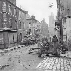 British Sherman tanks and a anti-tank gun in the centre of Caen, Normandy, 10 July One of hundreds of images from the Normandy campaign to be found in the 'Overlord' app for the iPad. Normandy Ww2, D Day Normandy, Normandy Invasion, Normandy Beach, Ww2 Pictures, Ww2 Photos, Canadian Army, British Army, M10 Wolverine