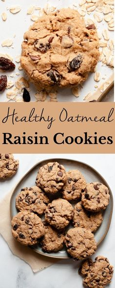 Healthy Oatmeal Raisin Cookies are a quick and easy option that everyone will love, including the kiddos! These treats are made using rolled oats and coconut sugar and are the perfect melt-in-your-mouth dessert. Good Healthy Recipes, Healthy Desserts, Whole Food Recipes, Cookie Recipes, Delicious Desserts, Dessert Recipes, Unique Desserts, Oatmeal Raisin Cookies, Rolled Oats