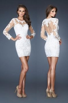 Long Sleeve White Lace short Cocktail Party Dress Slim Formal Evening Prom Gown | eBay