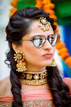 Indian Wedding Jewelry - Gotta Earrings with matching Choker and Maang Tikka