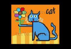 Cat Cross Stitch Blue  Cat Cross Stitch by NewYorkNeedleworks