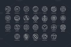 Conceptual scientific icon set. Neural Engineering, Mathematics, Physics, Sociology, Chemistry, Planetology, Ecology, Astronomy, Genetics, Linguistics, Philosophy, History, Theology, Logics,