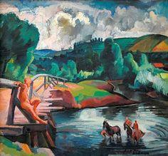 Zsögödi Nagy Imre (1893-1976) - Horse wash Horses, Artwork, Artists, Paintings, Work Of Art, Auguste Rodin Artwork, Paint, Artist, Painting Art