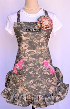 Women's Full Apron Army Wife Name Tape Military by OliviabyDesign, $34.95
