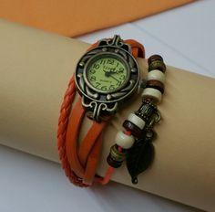 Nostalgische Shabby Vintage Leder-Armbanduhr von Schmuckbaron