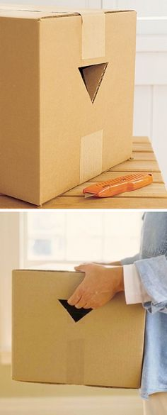 Helpful Moving Tips Everyone Should Know! Make picking up and lifting heavy boxes a little easier by cutting handholds in two sides of the box with a utility knife! Leave the top flaps of your triangular cut-outs attached and simply fold them in.
