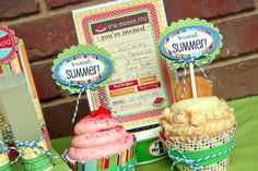 SRM Stickers - @Christine Ousley created this wonderful Summer themed party using SRM Stickers.  It's everything from the invite to the party favors to the drink holders to the cupcake toppers and even the napkin rings!  FUN!