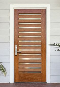 Modern Contemporary Wood Glass Paneled Front Door
