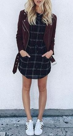 street style outfit: jacket + dress + sneakers