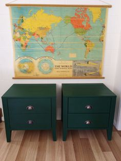 $150.00 Pair of timber painted bedsides in Amsterdam green and clear wax Chalk Paint by Annie Sloan  @ attic.fuurniture.qld