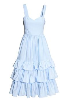 Vestido en popelina de algodón con tirantes, cintura entallada, bolsillos en las costuras laterales y cremallera oculta en un costado. Falda con pliegues y