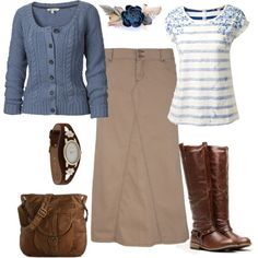 A fashion look from January 2014 featuring long sleeve tops, white tops and long skirts. Browse and shop related looks.