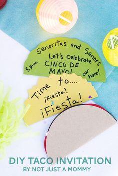 ¿Qué tal unas invitaciones para una fiesta mexicana con forma de taco? Una presentación llamativa y diferente. #FiestaTematica