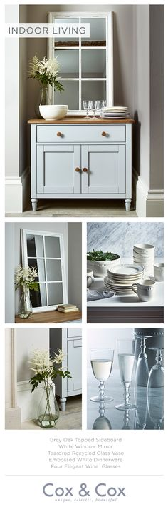 Make a feature of your kitchen or hallway sideboard with a statement mirror and elegant glassware.